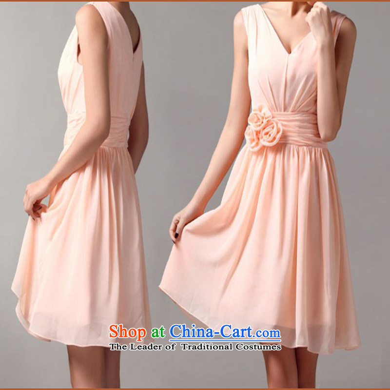 Pure Love bamboo yarn shoulders chiffon short skirt dress lovely short concert bridesmaid marriages bows stylish pale-pink dress summer?S