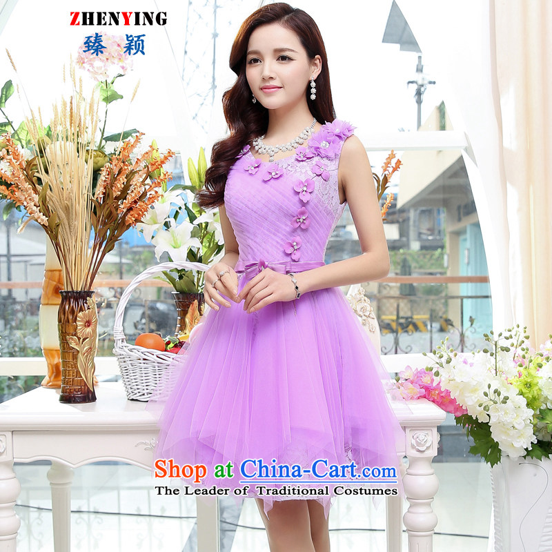 Zen Ying Female 2015 autumn and winter jackets new marriage wedding dress bridesmaid dresses Princess Chest Flower Female dress marriage clothing purple?M