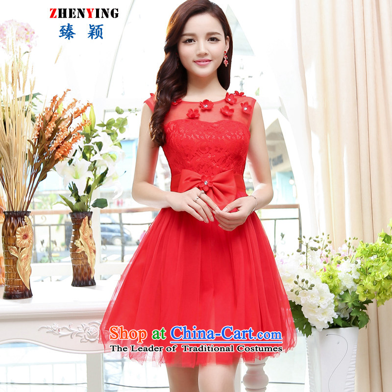 Zen Ying dress female new 2015 Bow Tie bride short, Wedding Dress banquet at night dresses sleeveless short skirt red?S