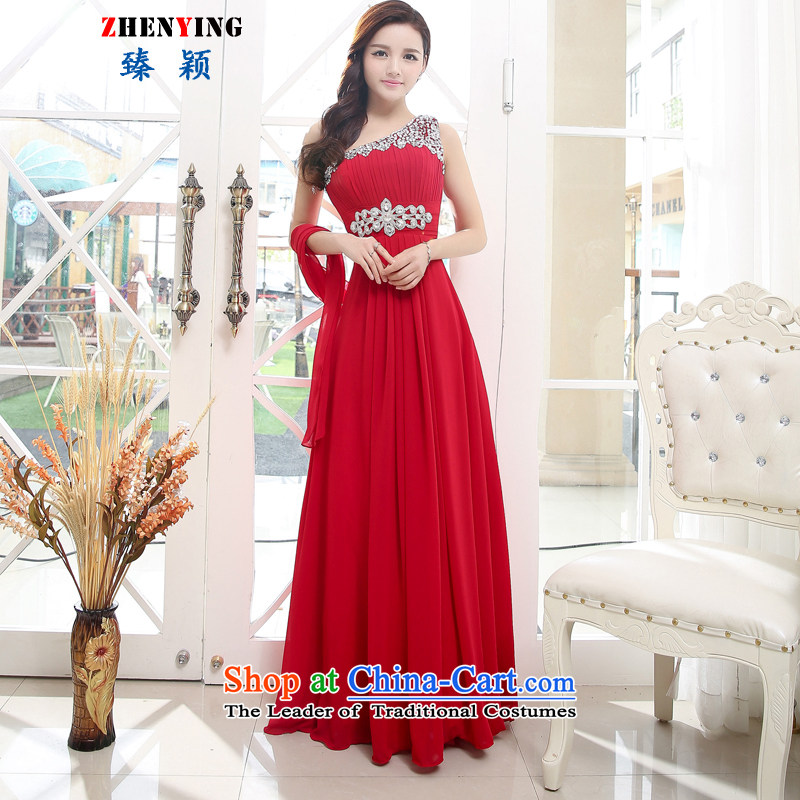 Zen Ying wedding fashion sense of elegant beauty 2015 Graphics thin sexy long high-lumbar marriage betrothal bridesmaid evening dresses dresses, wine red�XL