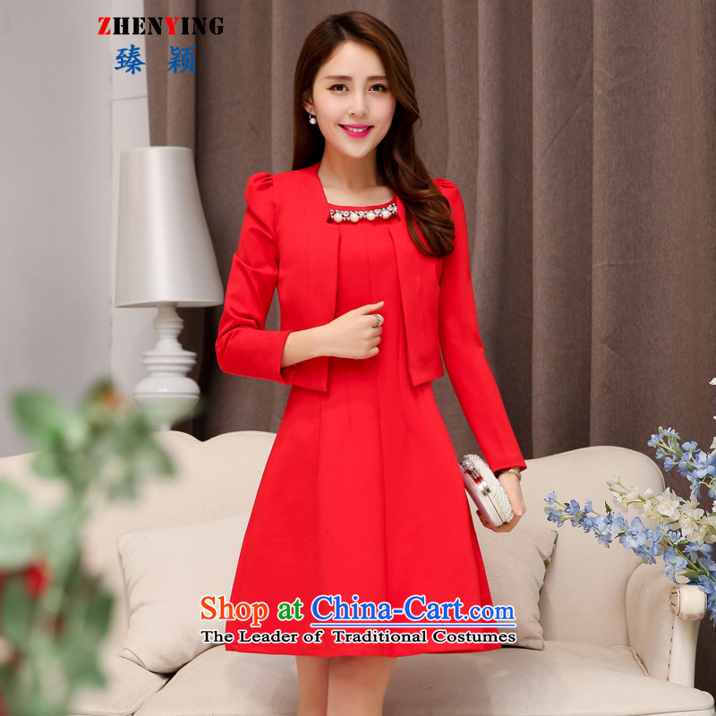 Zen Ying Wedding 2015 autumn and winter new dress code for women married to the bridal dresses pregnant women replacing the door bows services bridesmaid skirt two kits red�XXL