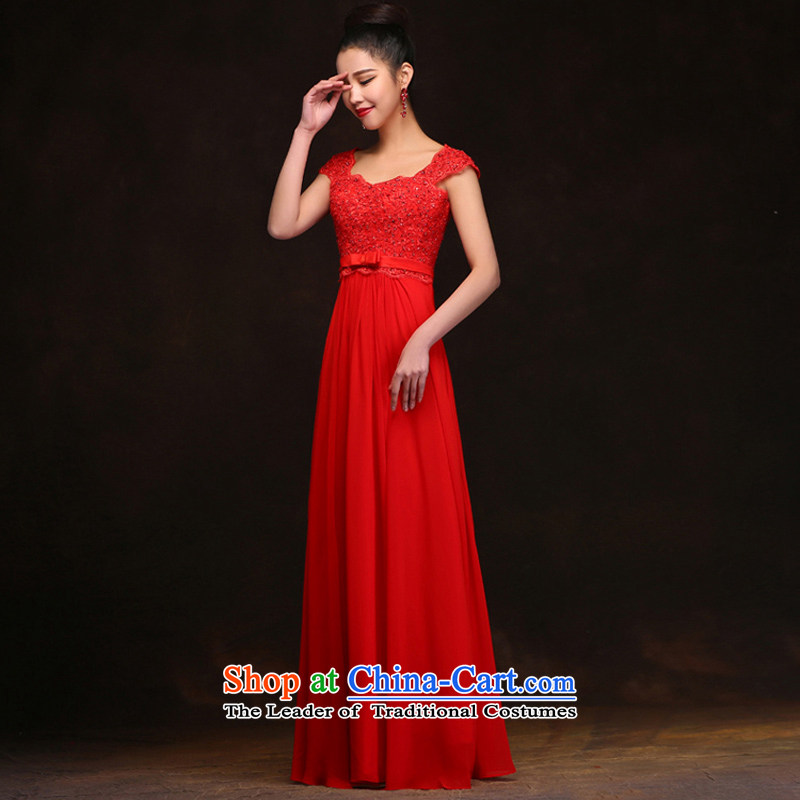 Pure Love bamboo yarn bows to the new Korean 2015 Red pregnant women wedding long bride wedding dress banquet evening dresses female summer normal)?L