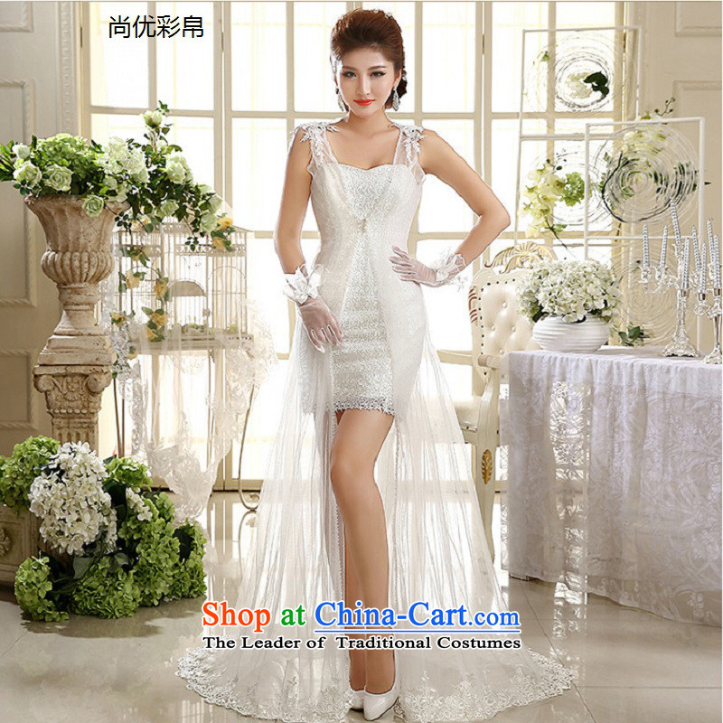 There is also a grand short of optimizing wedding dresses new marriage bride bows dress lace Yingbin yarn lace wiping the chest small trailing xs1006 white L