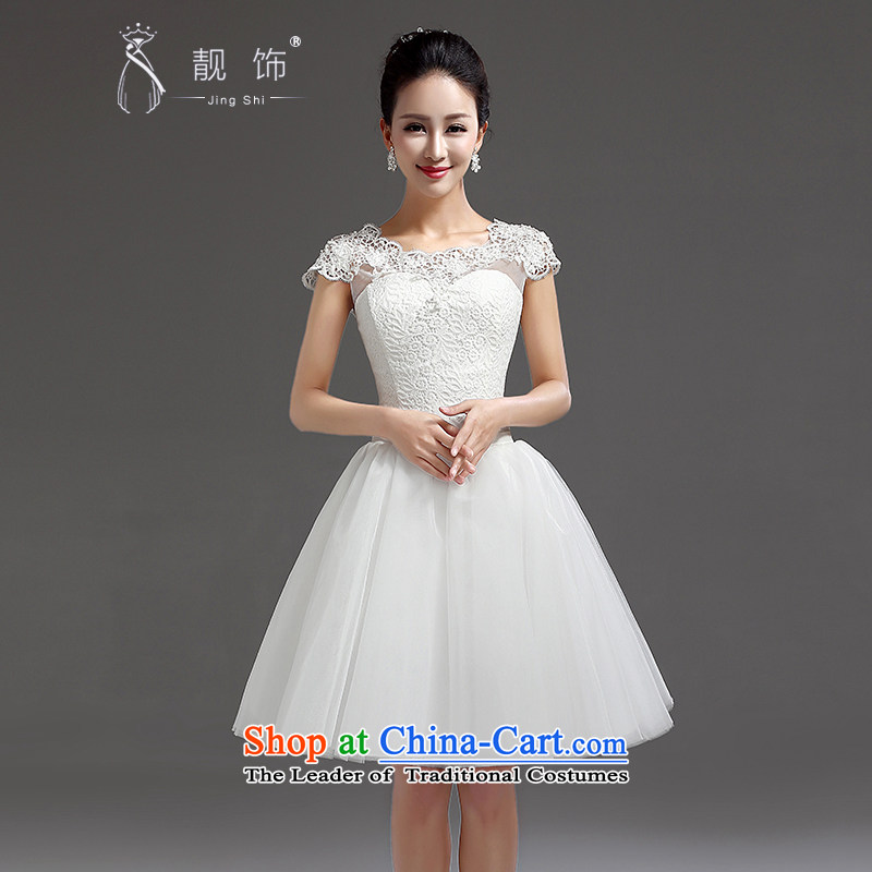 The new 2015 International Friendship bridesmaid short of small dress skirt bride evening dress short, lace straps princess skirt White XXL