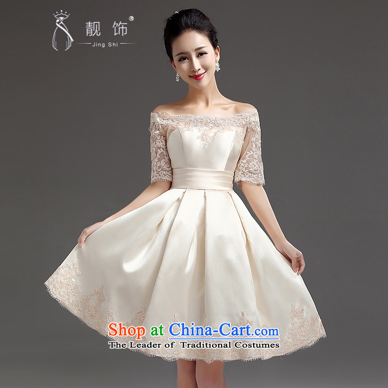 The new 2015 International Friendship bridesmaid short of small dress skirt a bride bows field shoulder straps lace princess skirt champagne color�M