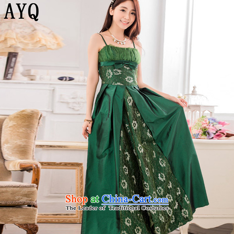 Hiv has stylish evening performances auspices qi large long evening dresses larger dresses?T9734A-1?GREEN?XL