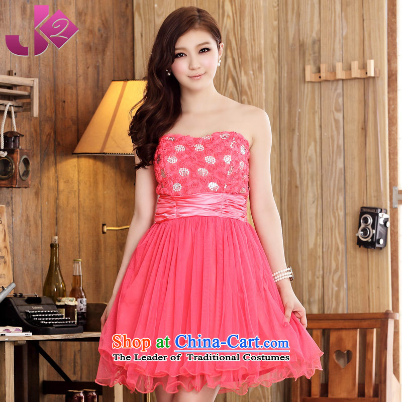 The new 2015 JK2 sweet Rose Bud mesh yarn Sau San short skirts larger anointed chest bridesmaid dress of marriage red?XL recommendations about 130