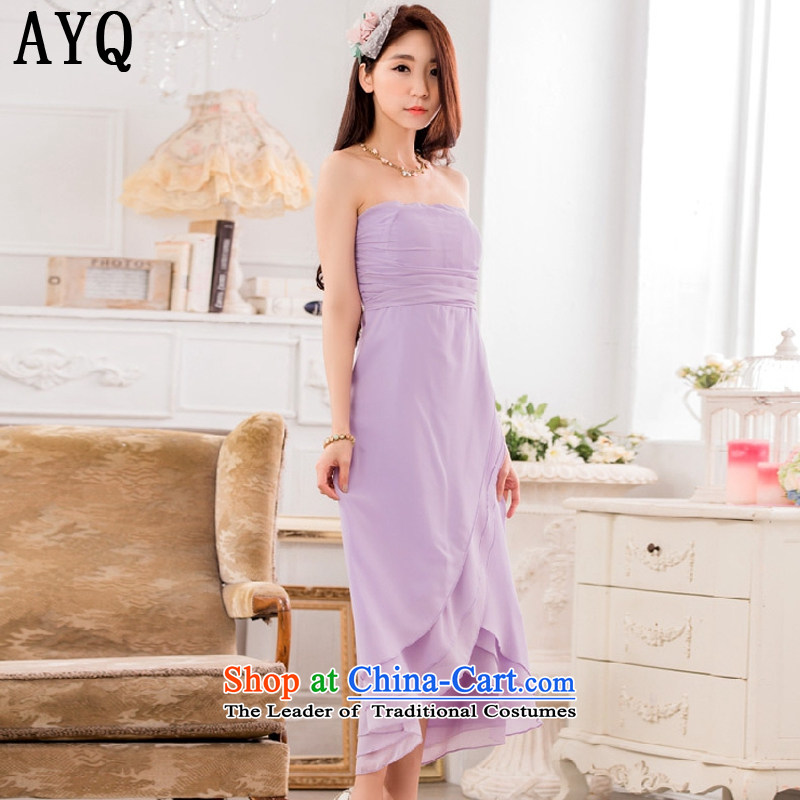 Hiv has a bright and elegant Qi Chest Foutune of Princess skirt omelet before large chiffon dress dresses?T9833A-1??XXXL Purple