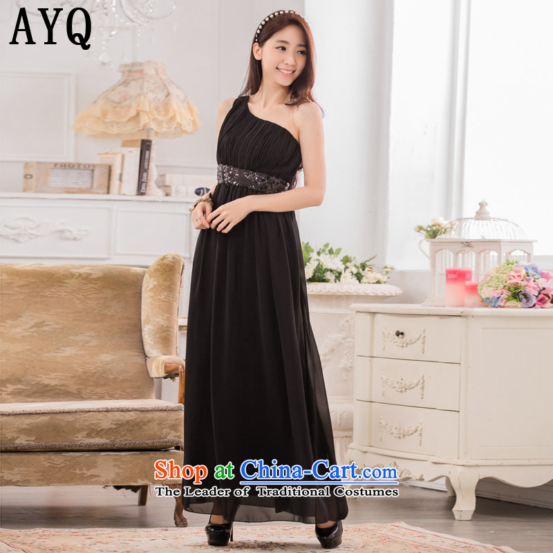 Hiv has unveiled a stylish qi shoulder Foutune of video thin chiffon dress manually staple-ju long evening dresses dresses�T9634A-1�black�XXL