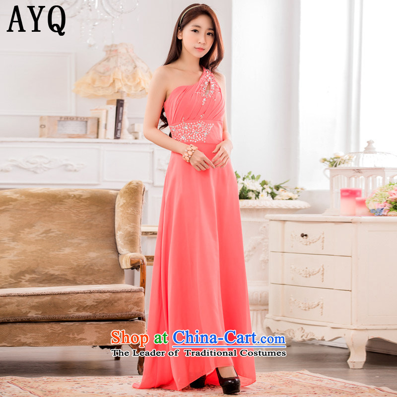 Hiv has been qi high-end dinner performances conducted dress stylish shoulder manually staple pearl chiffon long evening dresses T9633A-1  XXXL orange