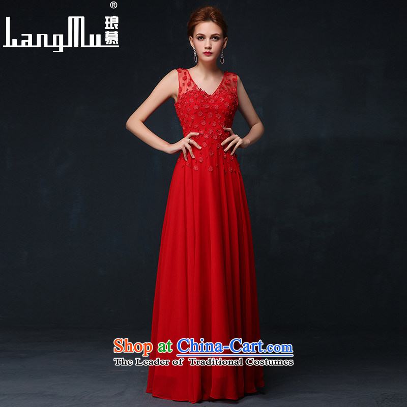 The bride wedding dresses Luang 2015 new summer shoulders long drink red dress uniform deep V-Neck dress chinese red?M