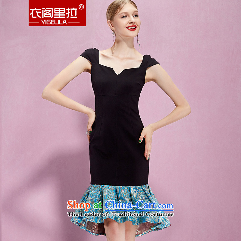Yi Ge lire aristocratic temperament knocked color stitching Foutune of Sau San video thin crowsfoot dress dresses black 61086 S
