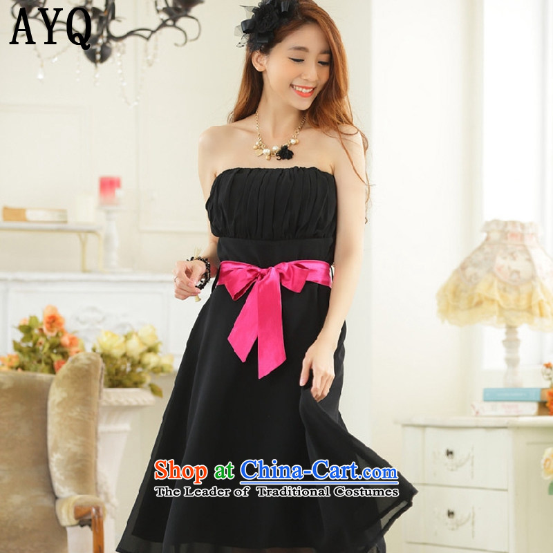 Hiv has a minimalist style with Qi chest large color plane belt chiffon dinner show dress dresses�T9930A-1��XXXL black