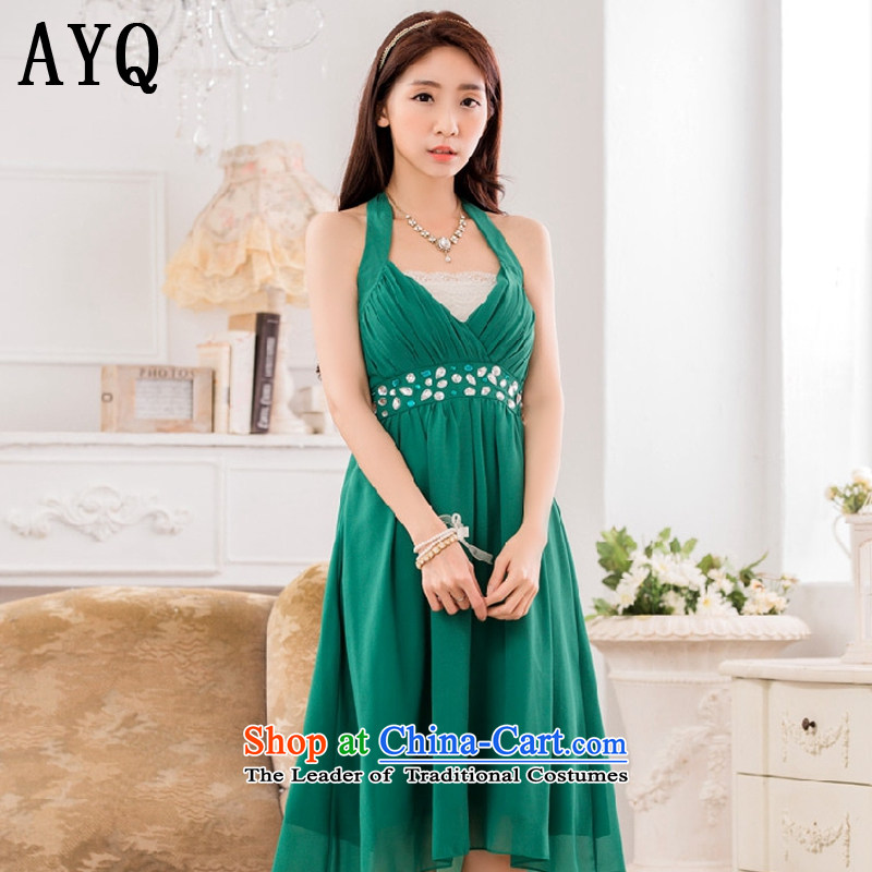 Hiv has been qi sexy V-neck a bright pearl of staple manually drill upscale chiffon evening dress small dress dresses?T9632A-1?GREEN?XXL