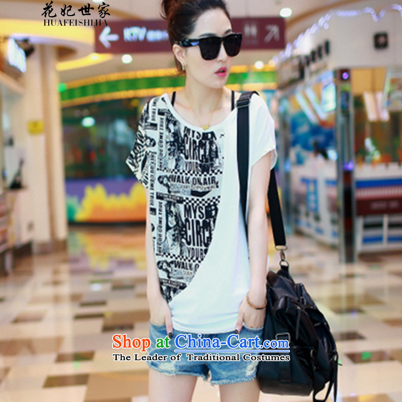Take concubines family and the new summer 2015 bat sleeves stitching chiffon shirt larger female short-sleeved T-shirt White?M