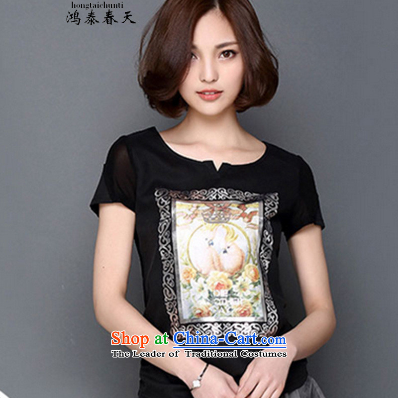 Hong Tai Spring? 2015 �� Korean large relaxd dress thick mm Sau San 3D Vision stamp short-sleeved T-shirt, forming the Netherlands black gauze?L