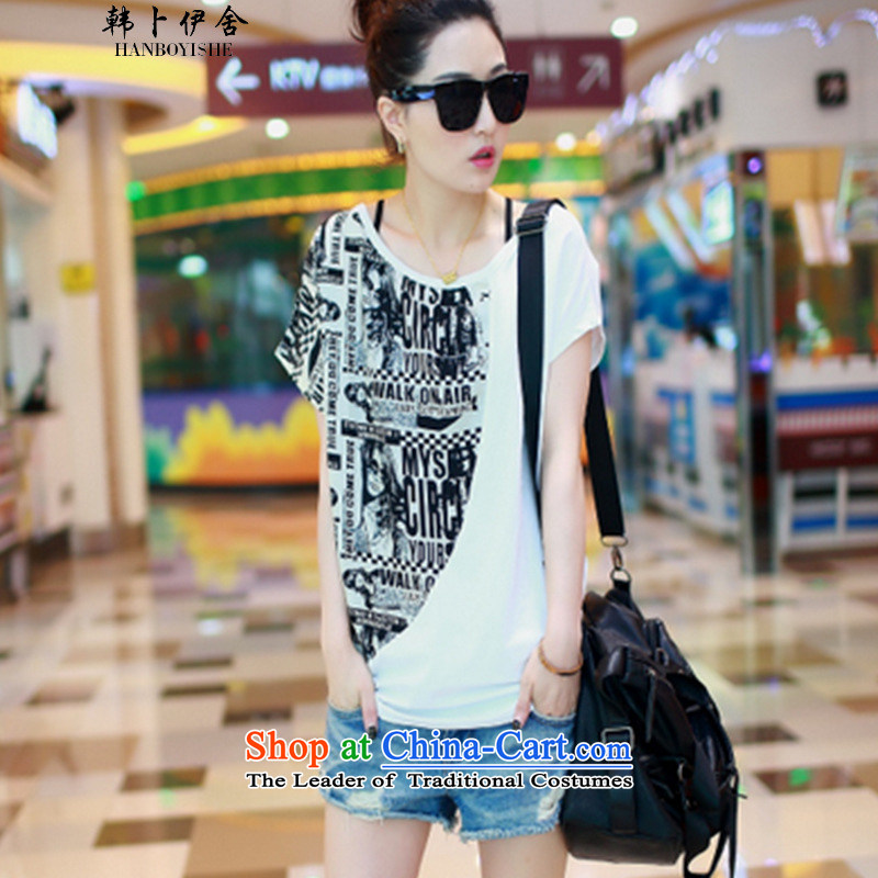 Korea Pu esher? nearly 2015 new summer bat sleeves stitching chiffon shirt larger female short-sleeved T-shirt White?XL