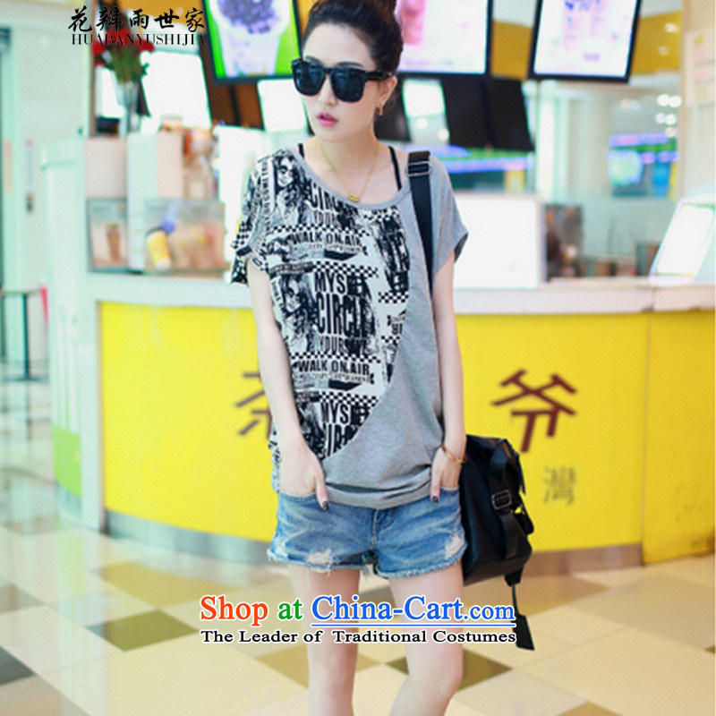The family?  should be 2015 rain petals new summer bat sleeves stitching chiffon shirt larger female short-sleeved T-shirt gray?XL