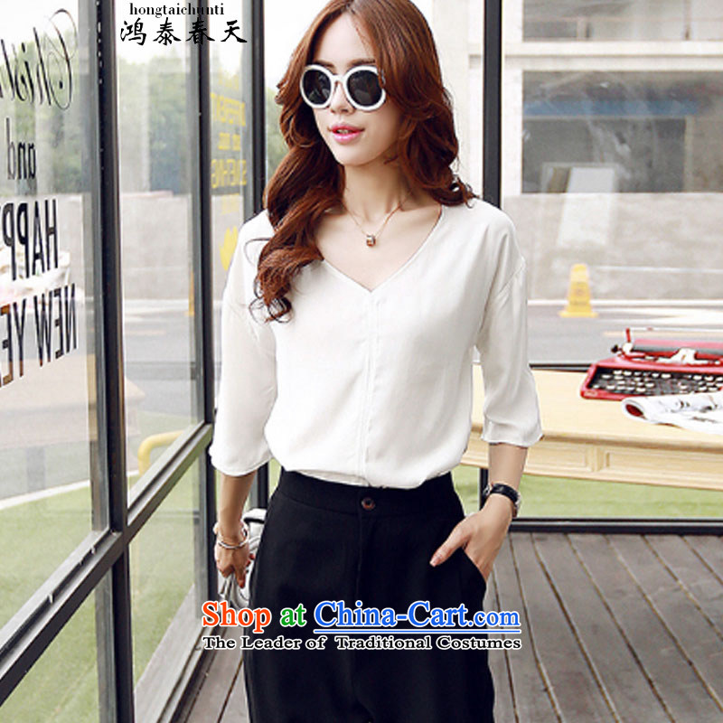 Hong Tai Spring� Summer 2015 d Pure White V-neck in the fifth country 236A814335 sleeve T-shirt White�M