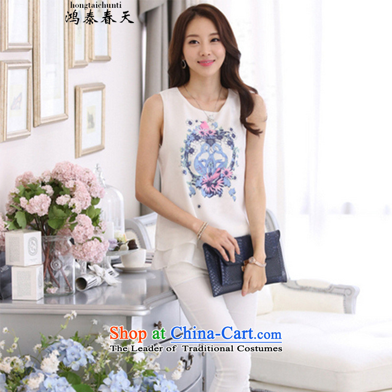 Hong Tai Spring? 2015 Summer �� new stamp sleeveless double Korea Stamp vest chiffon 188B886523 female white?3XL shirt