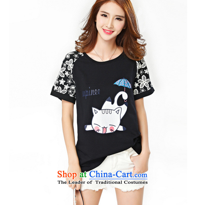 Take concubines and 2015 Summer Family larger female thick mm to xl short-sleeved T-shirt video thin thick Sister White�XL