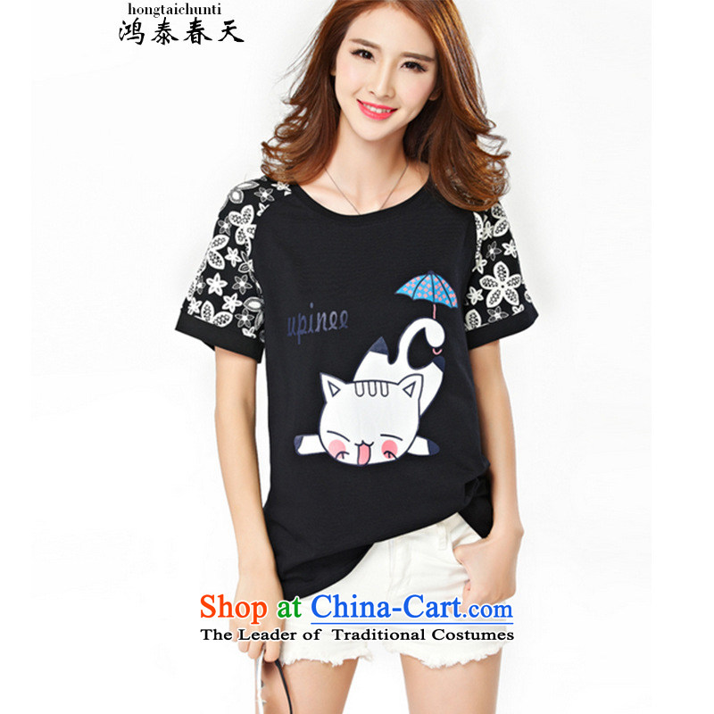Hong Tai Spring? 2015 Summer �� larger female thick mm to xl short-sleeved T-shirt video thin thick black sister?2XL