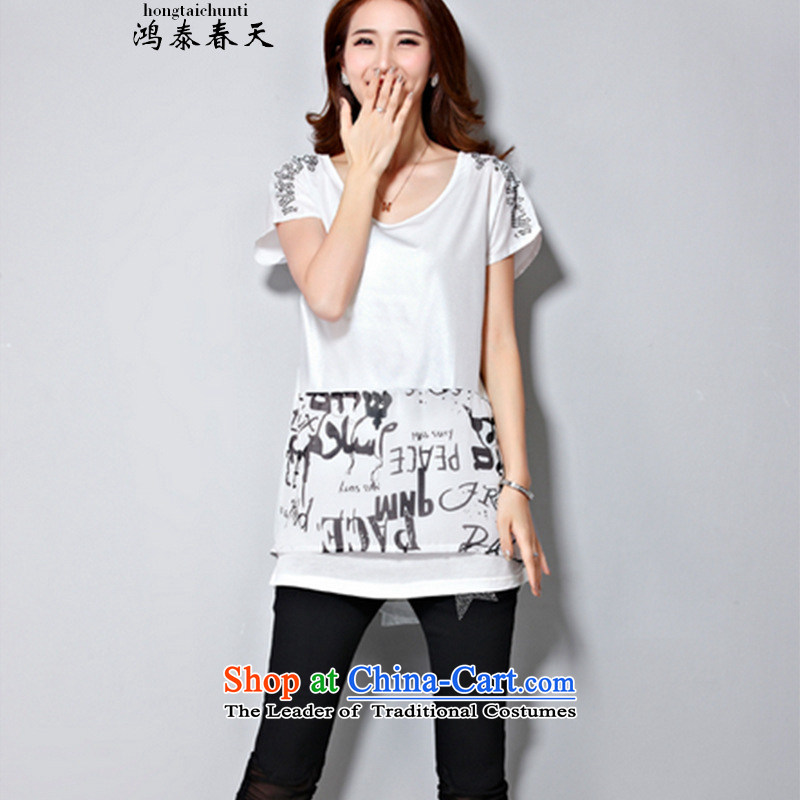 Hong Tai Spring� 2015 Summer d new Fat MM to intensify the stylish graphics thin ironing drill T-shirt shirt White�M