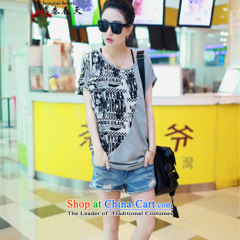 Hong Tai Spring? 2015 �� new summer bat sleeves stitching chiffon shirt larger female short-sleeved T-shirt Gray?L