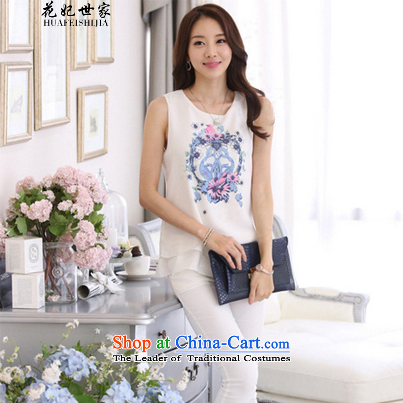 Take concubines family and summer 2015 new stamp sleeveless double Korea Stamp vest chiffon 188B886523 female white?3XL shirt