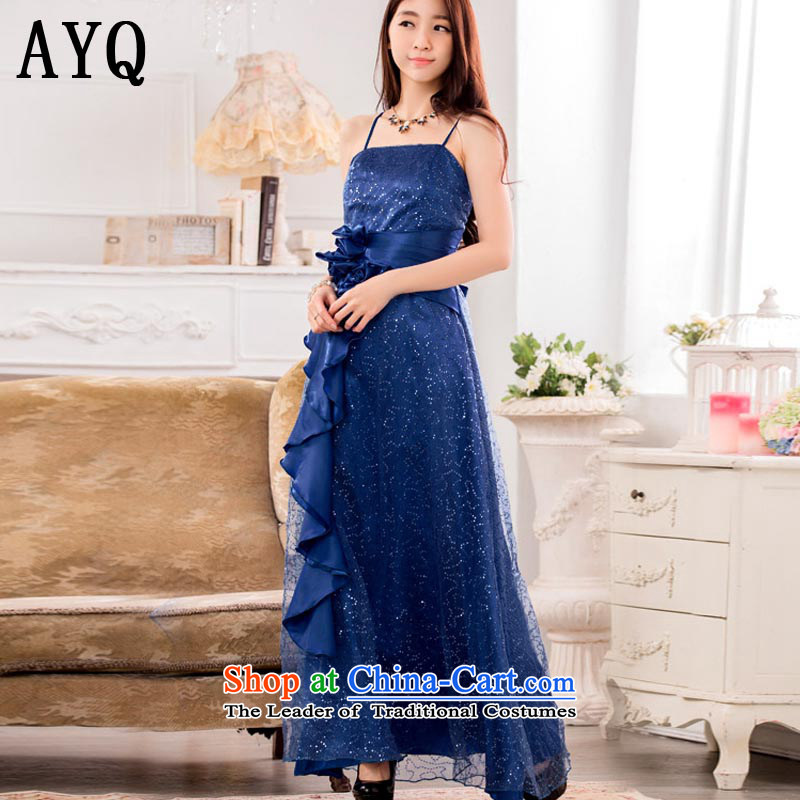Hiv has the super star stylish Qi on chip evening dresses show service long gown�T9929A-1 large�blue�XXXL