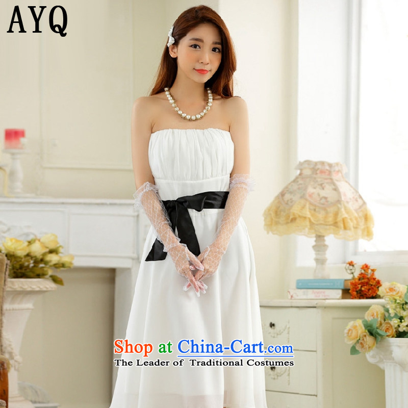 Hiv has a minimalist style with Qi chest large color plane belt chiffon dinner show dress dresses�T9930A-1�White�XL