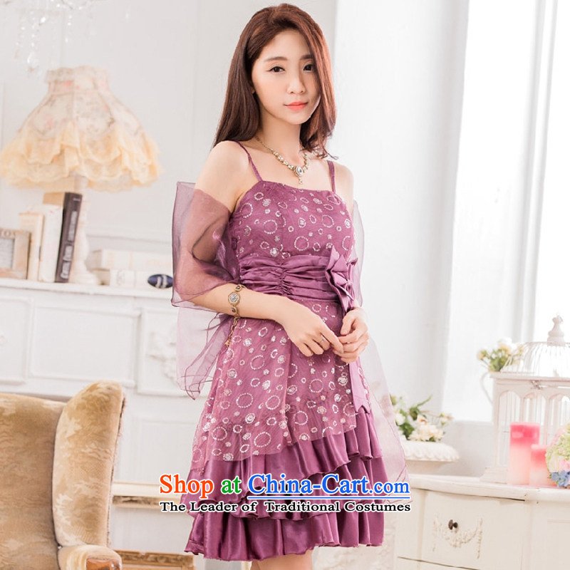 Hiv has chaired qi evening performances on the evening dress is a Bow Tie Straps聽T9838A-1 dress聽purple聽XXXL, small HIV has been qi (aiyaqi) , , , shopping on the Internet