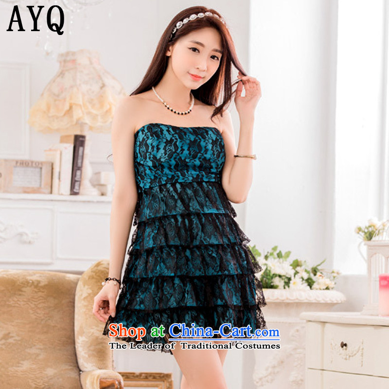 Hiv has been qi sexy nightclub performers skirt anointed chest lace princess dress skirt?T9642A-1?BLUE?XXL