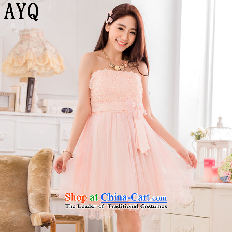 Hiv has been qi sweet lei mesh yarn sister skirt show small dress bow tie larger evening dresses?T9733A-1?pink?XXL