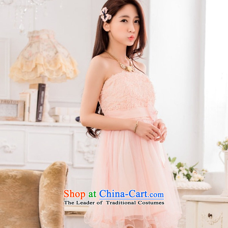 Hiv has been qi sweet lei mesh yarn sister skirt show small dress bow tie larger evening dressesT9733A-1pinkXXL, HIV has been qi (aiyaqi) , , , shopping on the Internet
