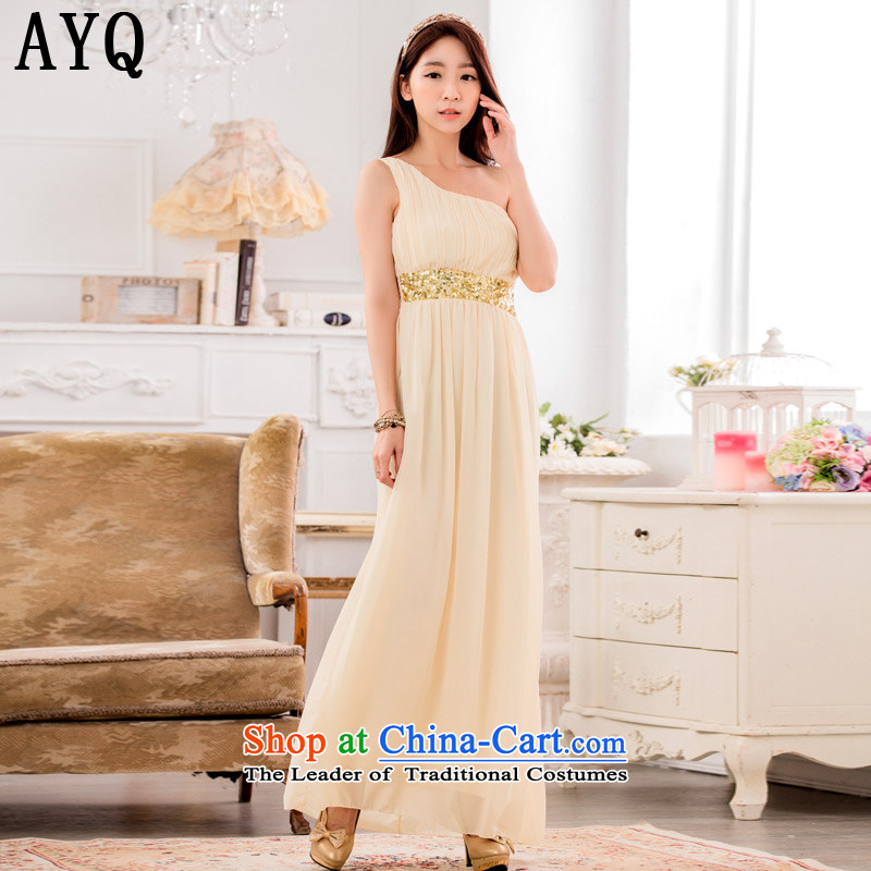 Hiv has unveiled a stylish qi shoulder Foutune of video thin chiffon dress manually staple-ju long evening dresses dresses?T9634A-1?champagne color?XXL