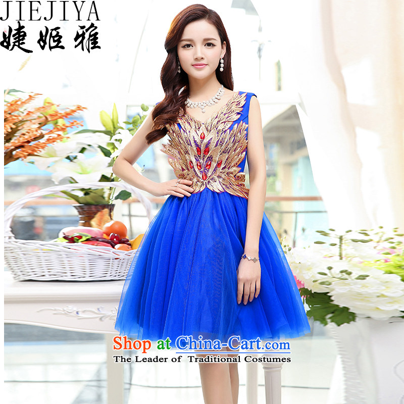 Involving summer-hee Nga 2015 new female Korean fashion sleeveless V-Neck bride wedding dresses bridesmaid skirt Blue�M