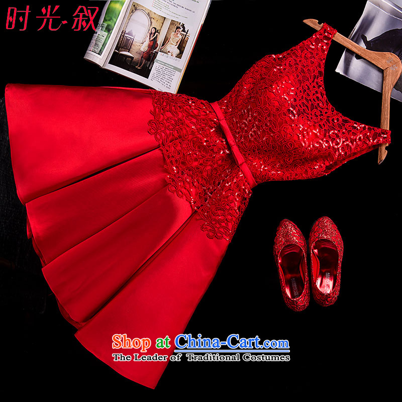 The Syrian brides bows service hour dress� 2015 autumn and winter new small red dress skirt the word lace short, shoulder the lift mast to marry a short skirt RED�M