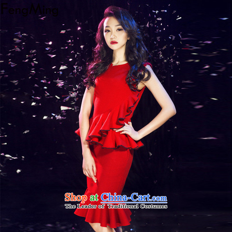 Hsbc Holdings Plc聽2015 Summer Ming New Europe and the stars of the same big red wavy edge stitching black skirt dress kit crowsfoot red two kits聽S