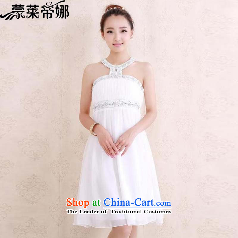 The 2015 Dili Blair and European sites for summer new heavy industry diamond on chip for Top Loin of history to small dress dresses 8133 White?L