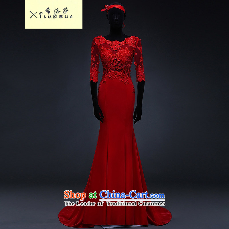 Hillo XILUOSHA) bridal dresses Lisa (2015 Spring word lace bows to shoulder in the Cuff tail red bows services crowsfoot chinese red?M