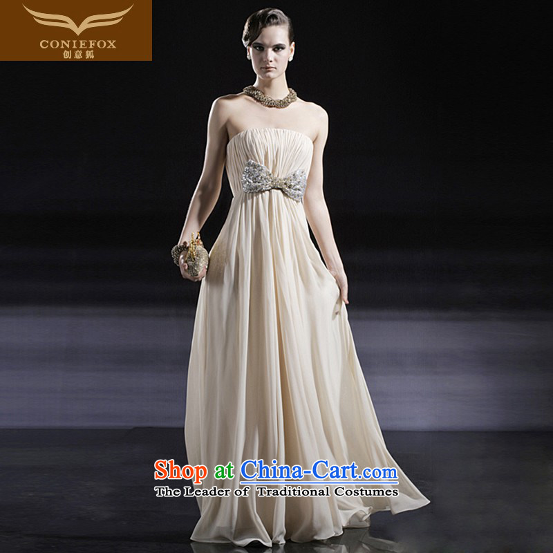 The kitsune elegant evening dress creative long evening dresses and chest dresses bride wedding dress bows services under the auspices of the annual session of 56630 color pictures dress L