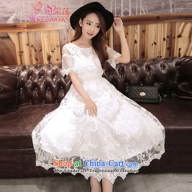 Admissibility Lin wedding dresses skirt summer?2015, summer new women engraving lace dresses, long skirt evening dress?508?white?L
