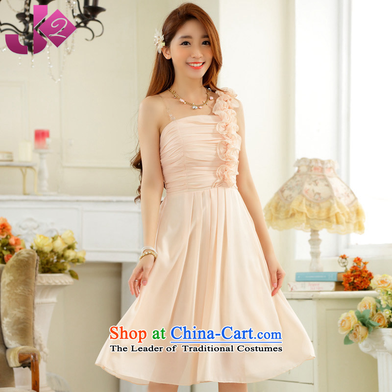 The new 2015 JK2 sweet fungus single shoulder foutune chiffon large gathering in the skirt show dress pink bridesmaid serving champagne color?XL recommendations about 130