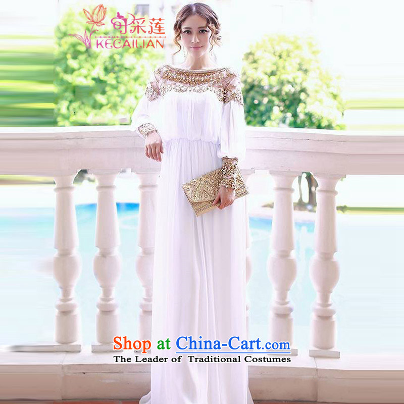 Admissibility Lin bridal dresses bridesmaid dress summer 2015, summer new women's luxury diamond studs pearl white sin dresses banquet dinner dress White M
