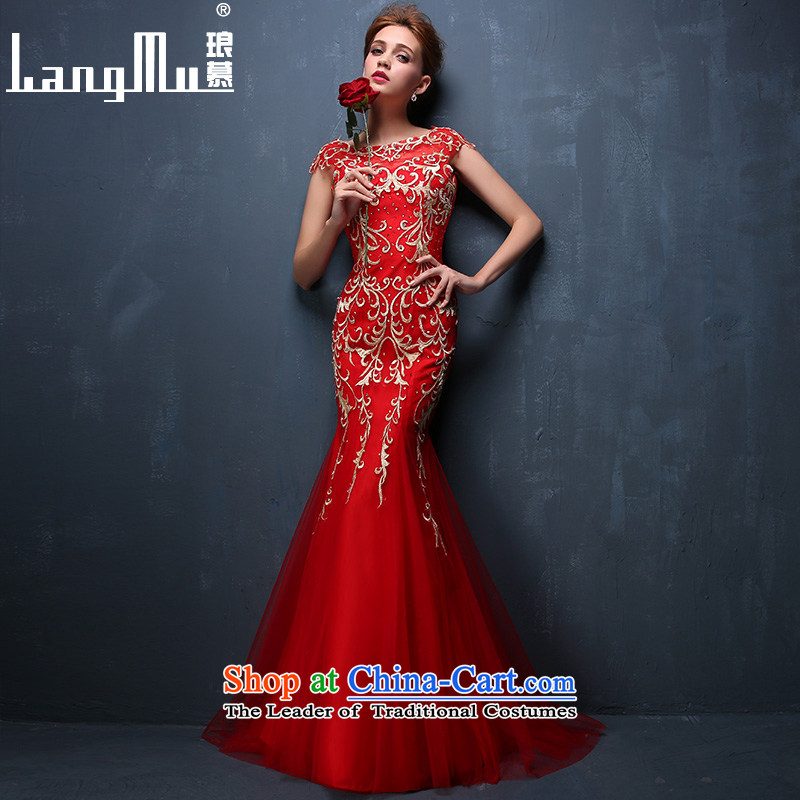 The new 2015 Luang summer gown red phoenix 9 day embroidery marriages bows services crowsfoot evening dress red?S