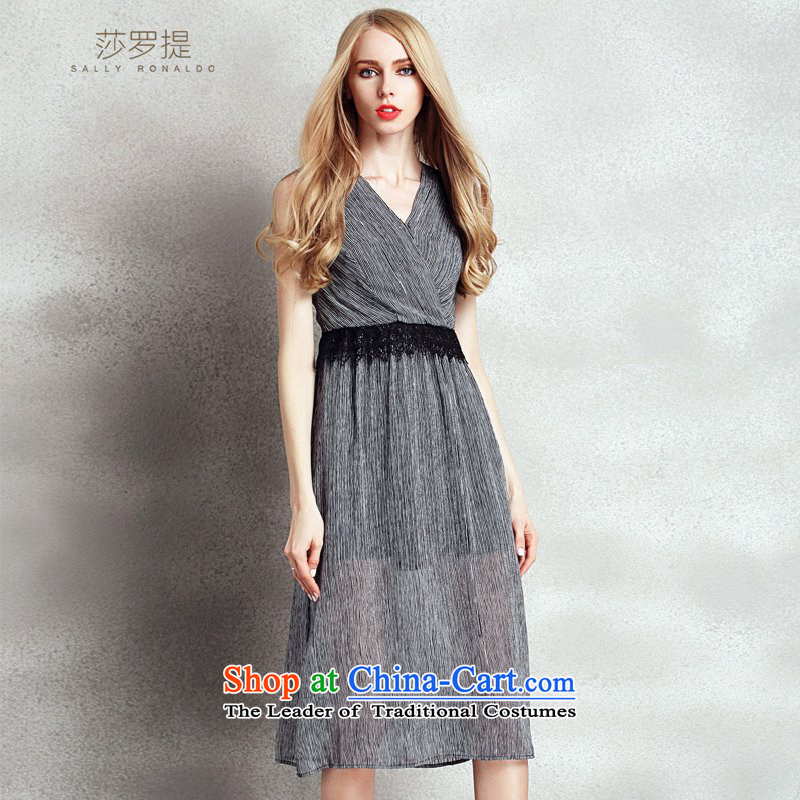 Sha Lo mentioned Western Wind 2015 Fall_Winter Collections New elegant dress long skirt deep V-neck and sexy Beauty Stripe Sleeveless tank skirts temperament picture color?S