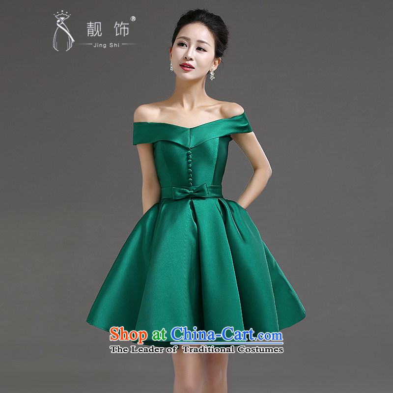 �The new 2015 International Friendship word shoulder wedding dress bows Service Bridal upscale short, banquet dress bridesmaid dress dark green�XXL