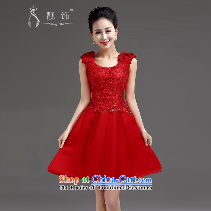 The new 2015 International Friendship bridesmaid short of small dress skirt bride evening dress shoulders shoulder short, lace princess skirt RED�M