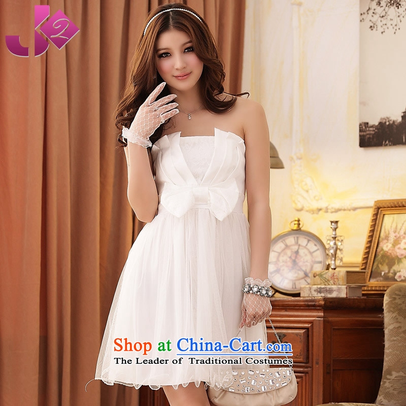 The new 2015 JK2 summer bow tie gauze large wedding dress pink tissue chest bridesmaid skirt white Sau San�XL recommendations about 135